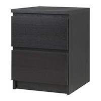 """MALM Chest with 2 drawers - black-brown, 15 3/4x21 5/8 """" - IKEA"""