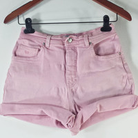 HIGH WAISTED Denim Shorts - Vintage Pink High Waist Jean Shorts - SIZE 6