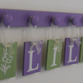 Nursery Wooden Wall Letters Name - LILY with FLOWERS includes 6 Wood Hooks in Purple and Green