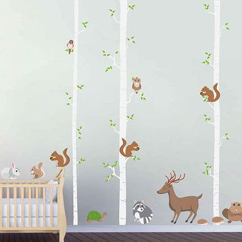 Birch decals trees wall decals woodland animals wall decals squirrels wall decals Woodland wall decals for Nursery kids wall decal kcik1787