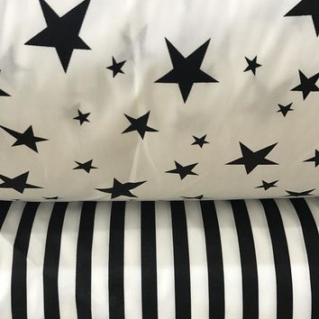 100% cotton twill cloth white BLACK stars stripe fabrics for DIY kidscrib bedding cushions handwork quilting tissue textile tela
