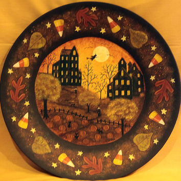 Halloween Folk Art Wood Plate - Hand painted MADE TO ORDER - Primitive Saltbox Houses, Full Moon, Pumpkins, Candy Corn, Witches Leaves, Bats