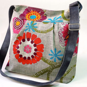 Mimosa Gray Diaper bag - Messenger  spring floral print with garnet red pink turquoise flower - 12 pockets