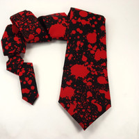Blood Spatter tie, Horror movies tie, zombie tie, blood splatter tie, serial killer tie, blood splatter black, grindhouse, slasher movie tie