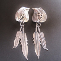 Navajo Sterling Feather Clip On Dangle Earrings