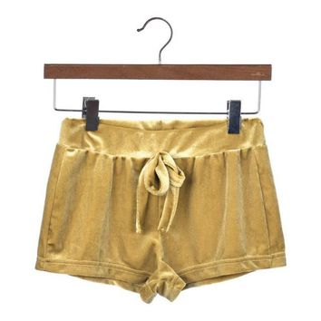 Fashion Women Short Femme Summer 2017 Ladies Crushed Velvet Drawstring Slim Skinny Casual Shorts High Waist Short Pants Women#63