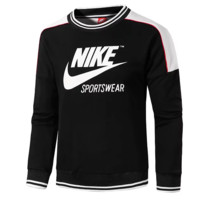 NIKE New fashion bust letter hook print retro men long sleeve top sweater Black
