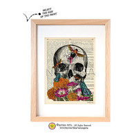 Anatomical skull with bees flowers and butterflies dictionary print-skull print-Anatomy print-skull on book page-skull wall art-NATURA PICTA