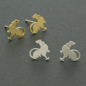 Rooster Stud Earrings / chicken earring, farm animal earrings, animal jewelry / E136