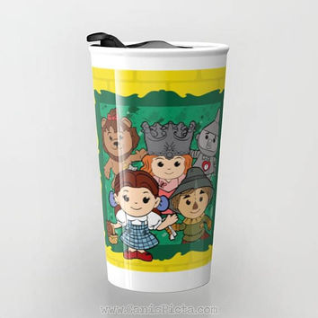 Kawaii Wizard of Oz Ceramic Travel Mug Tumbler Cup Tea Coffee Fandom Fan Art Scarecrow Cowardly Lion Glinda Toto Dorothy Witch Yellow Brick