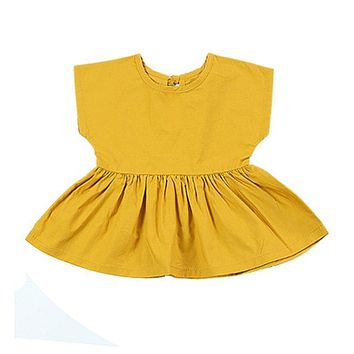 Yellow Color Infant Toddler Baby Girls Summer Princess Pageant Mini Dress Newborn Kids Clothes 0-24M