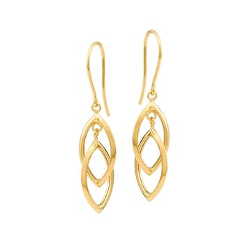 14K Yellow Gold Shiny Drop Tear Drop Earrings