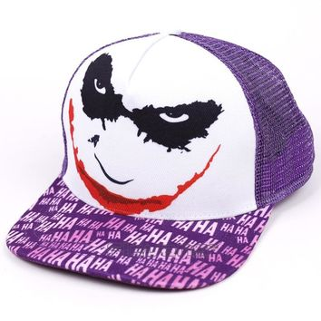 Trendy Winter Jacket DC COMIC The Joker Baseball Snapback Caps Summer Sun Hats Punk Style Hip Hop Caps For Men Women AT_92_12