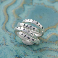 Love, Laugh, Embrace Life Rings, Quad Mother's Ring, Four Personalized Sterling Silver Ring Bands, Inspiring Words Double Rings