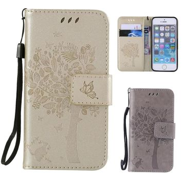 For Apple iPhone 5s Cases Mobile Phone Shell to Protect Casing For Coque iPhone 5 5s SE Trees Embossed Leather Flip Cover Case