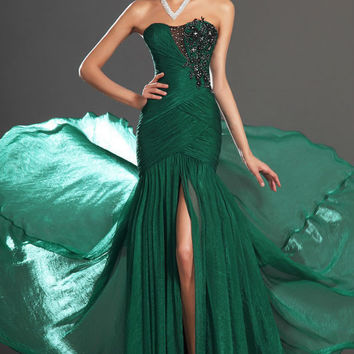 Vestidos Beautiful Mermaid Emerald Green Prom Dress Evening Dress with Lace Appliques and Sequins