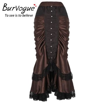 Burvogue Women's Brown Gothic Steampunk Long Maxi Skirt Victorian Vintage Sexy Party Ruffled Satin Skirts Plus Size