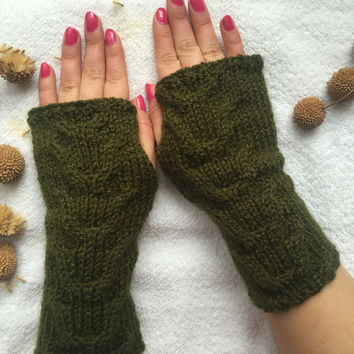 Hand Knitted Fingerless Gloves, Female green gloves, Mother's day,Turkish handicrafts, Gift Ideas, Winter Accessories,