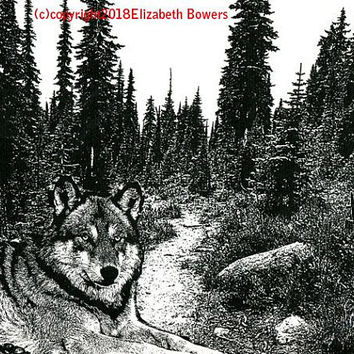 wolf laying in forest original art print trees landscape print ink modern animal nature black and white art