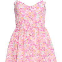 ROMWE Flower Print Buttoned Embellished Pink Camisole Dress