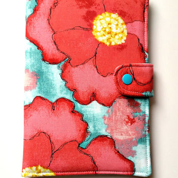 Ipad Mini 3 Kindle Fire HD 7 Kindle Paperwhite Kobo Glowlight Standable Tablet eReader Cover Red and Aqua Poppy Custom Order