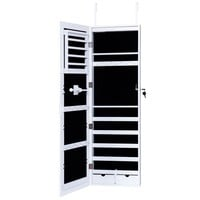 Door Mounted Mirrored Jewelry Cabinet Armoire Organizer Lockable w/ 2 Drawers (Color: White)