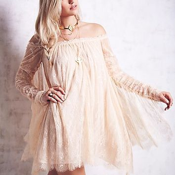 Free People Womens Angel Lace Trapeze Mini Dress