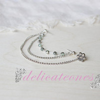 Flower Crystal Double Piercing Chain Cartilage Piercing