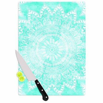 "Nika Martinez ""Boho Flower Mandala in Teal"" Aqua Green Cutting Board"