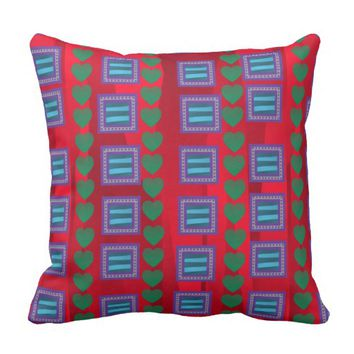 Hearts and Squares Throw Pillow