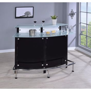 Arched Bar Unit with Frosted Glass Counter Tops, Black