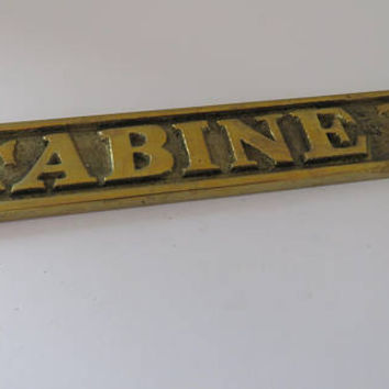 Vintage French, Solid Brass, Cabine 11, Door Plaque, SHIPPING INCLUDED