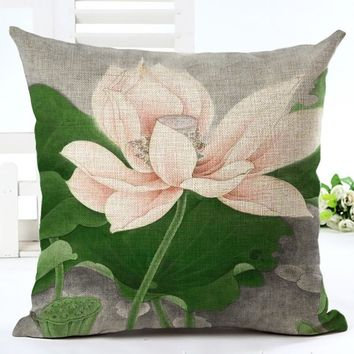 Lotus Decorative Cushion Cover Vintage Floral Printed Throw Pillow Case for Sofa 45X45cm Cotton Linen Home Decor Pillowcase