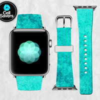 Mint Colored Watercolor Paint Texture Blue Green Cute Apple Watch Band Leather Strap iWatch for 42mm and 38mm Size Metal Clasp Watch Print