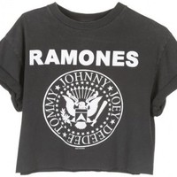 Rokit Recycled Black 'Ramones' Cropped T-Shirt - Vintage clothing from Rokit -