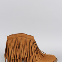 Soda Suede Fringe Ankle Bootie