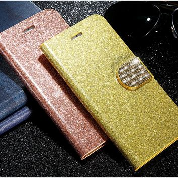 Luxury Leather Bling Flip Case Wallet with Stand iPhone