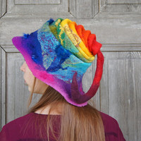 Unique nuno felted hat with floppy brim and long fancy tail, rainbow colors. OOAK