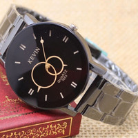Round Dial Stainless Steel Band Quartz Wrist Watch Women's Men Gift = 1697170052