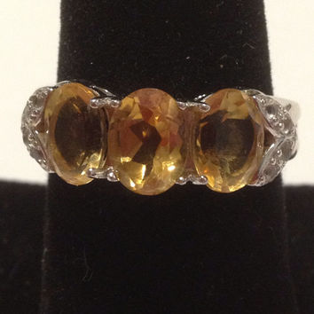 Citrine Sterling Ring Band Size 10 Silver Yellow 5 TCW CZ Cubic Zirconia 925 Vintage Jewelry Bridal Engagement Wedding Promise Gift Sparkly