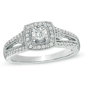 1/2 CT. T.W. Diamond Vintage-Style Engagement Ring in 10K White Gold