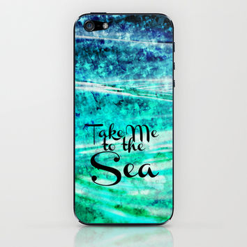 TAKE ME TO THE SEA - Typography Teal Turquoise Blue Green Underwater Adventure Ocean Waves Bubbles iPhone & iPod Skin by EbiEmporium
