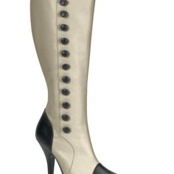 Pleaser Female Victorian, Detective, Classic Boot With Side Buttons, Knee High ARENA208