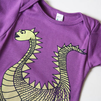 Elliot - Organic Cotton - purple baby bodysuit - dragon screenprint