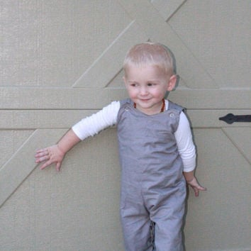 Grey Reversible Rompers for Boys, Retro Jon Jons, Longalls Newborn-5t