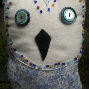 Blue floral barn owl accent pillow with button eyes and beading