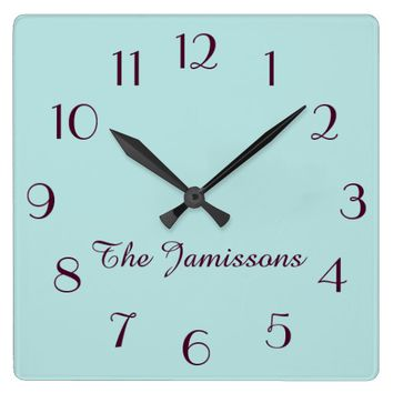 CHOOSE YOUR COLOR, Robins Egg Blue, Personalized Square Wall Clock