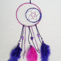 Pink and Purple Cresent moon and star dreamcatcher-with star beads and braided rattail cord-bedroom wall hanging-kids gifts