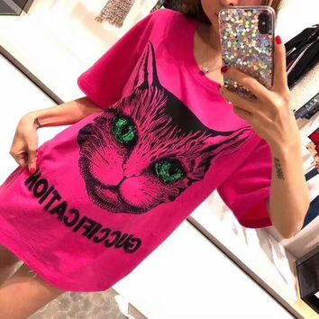 """Gucci"" Women Casual Fashion Sequin Letter Embroidery Cat Head Print Short Sleeve T-shirt Top Tee"