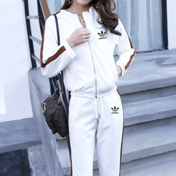 """Adidas"" Women Casual Stripe Letter Print Zip Cardigan Long Sleeve Trousers Set Two-Piece Sportswear"